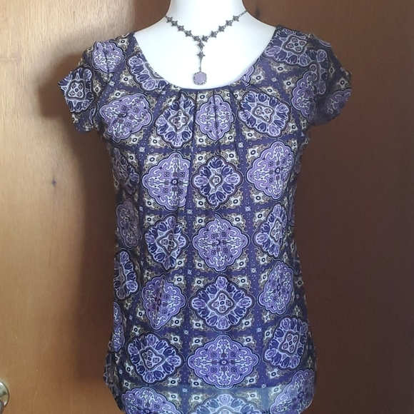 New York & Company Tops - NY & Co. Ladies' Patterned Short Sleeved Blouse, S